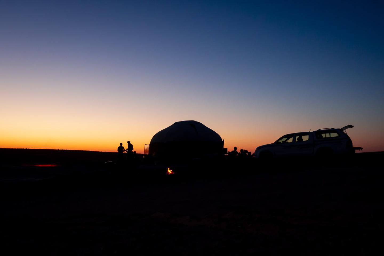 Camp site in Karakum Desert, Turkmenistan.