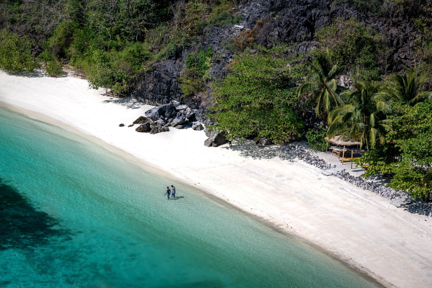 Turquoise water surrounding a beach in Mergui Archipelago, Myanmar.