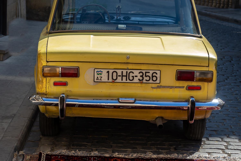 Yellow car in Old Baku, Azerbaijan.