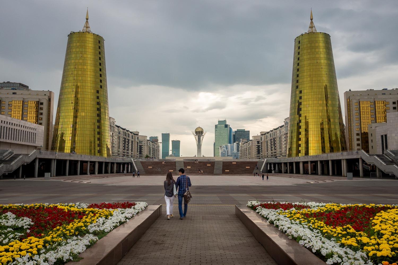 Travelgrapher.com-Inspire-Kazakhstan-Astana-Government-District-Couple
